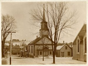 A sepia -colored photograph of The Universalist Church, Second and Central Street from about 1900. Emma Clark Weeks collection.